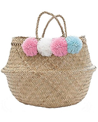 Olli Ella Large Belly Basket with Pom Poms, Pink, White & Blue – Handmade! Toy Storage Boxes