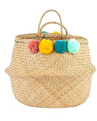 Olli Ella Large Belly Basket with Pom Poms - Teal, Pink, Yellow & Mint – Handmade! Toy Storage Boxes
