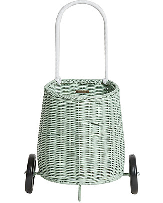 Olli Ella Luggy, Toy's Basket with Wheels, Mint – Fair trade, handmade! Toy Storage Boxes