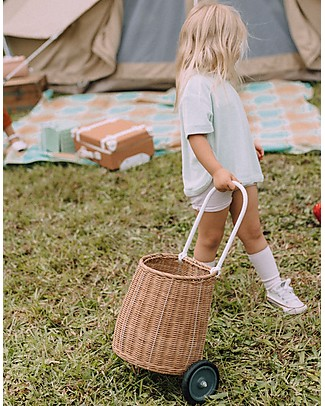 Olli Ella Luggy, Toy's Basket with Wheels, Natural – Fair trade, handmade! Toy Storage Boxes