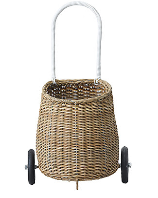 Olli Ella Luggy, Toy's Basket with Wheels, Natural - Fair trade, handmade! Toy Storage Boxes