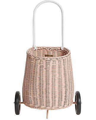 Olli Ella Luggy, Toy's Basket with Wheels, Rose – Fair trade, handmade! Toy Storage Boxes
