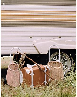 Olli Ella Luggy, Toy's Basket with Wheels, Straw – Fair trade, handmade! Toy Storage Boxes