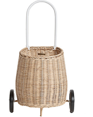 Olli Ella Luggy, Toy's Basket with Wheels, Straw - Fair trade, handmade! Toy Storage Boxes