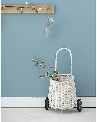Olli Ella Luggy, Toy's Basket with Wheels, White – Fair trade, handmade! Toy Storage Boxes