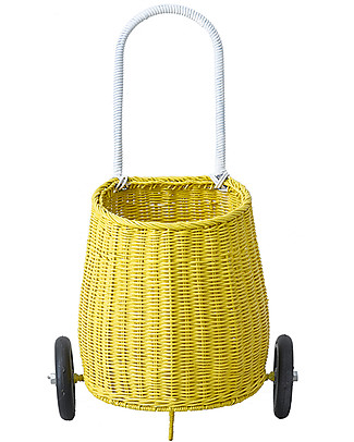 Olli Ella Luggy, Toy's Basket with Wheels, Yellow – Fair trade, handmade! Toy Storage Boxes