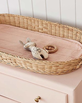 Olli Ella Luxe Cotton Liner for Changing Basket, Rose - Organic cotton Changing Tables