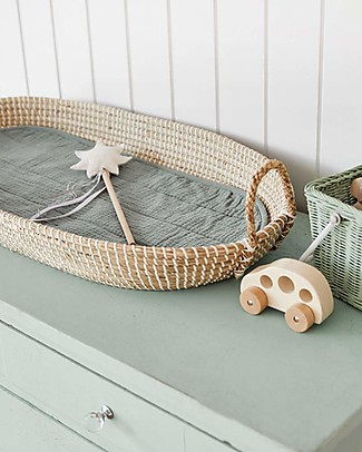 Olli Ella Luxe Cotton Liner for Changing Basket, Sage - Organic cotton Changing Tables