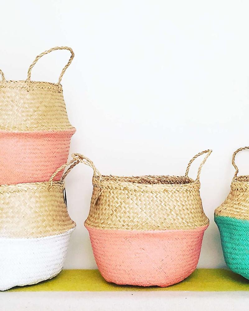 Olli Ella Medium Belly Basket, Coral Dipped U2013 Handmade! Toy Storage Boxes