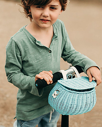 Olli Ella Mini Chari Rattan Bag 20 x 16 x 13 cm, Blue - From bag to bike basket! Tote Bags