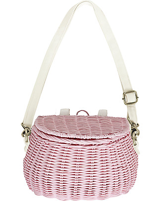 Olli Ella Mini Chari Rattan Bag 20 x 16 x 13 cm, Pink - From bag to bike basket!  Tote Bags