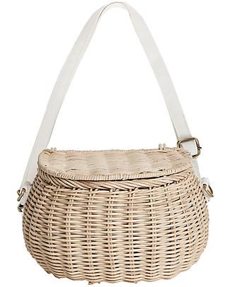 Olli Ella Mini Chari Rattan Bag 20 x 16 x 13 cm, Straw - From bag to bike basket! Tote Bags