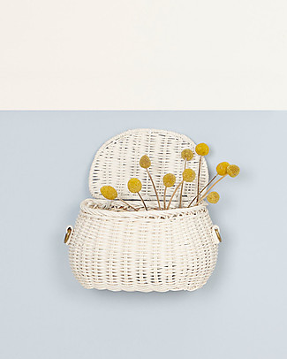 Olli Ella Mini Chari Rattan Bag 20 x 16 x 13 cm, White - From bag to bike basket! Bycicles
