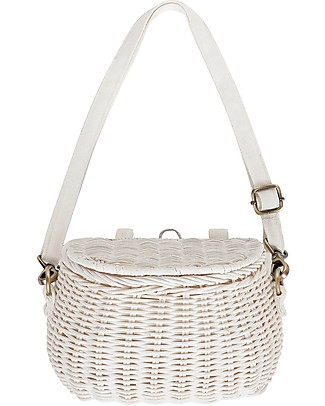 Olli Ella Mini Chari Rattan Bag 20 x 16 x 13 cm, White - From bag to bike basket! Lunch Boxes