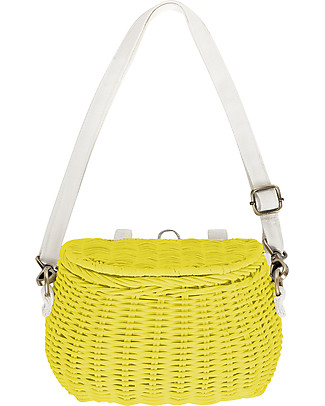 Olli Ella Mini Chari Rattan Bag 20 x 16 x 13 cm, Yellow - From bag to bike basket! Tote Bags