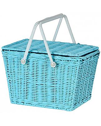 Olli Ella Piki Basket, Blue 23 x 15 x 15 cm - Fair trade, handmade! null