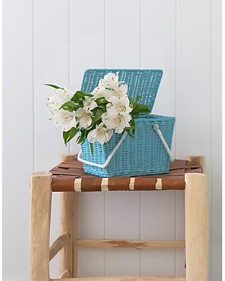 Olli Ella Piki Basket, Blue 23 x 15 x 15 cm - Fair trade, handmade! Toy Storage Boxes