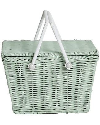 Olli Ella Piki Basket, Mint 23 x 15 x 15 cm - Fair trade, handmade! Toy Storage Boxes