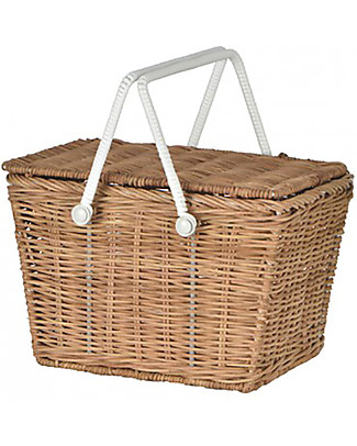 Olli Ella Piki Basket, Natural 31 x 15 x 15 cm - Fair trade, handmade! Toy Storage Boxes
