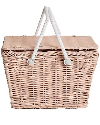Olli Ella Piki Basket, Rose 23 x 15 x 15 cm - Fair trade, handmade! Toy Storage Boxes