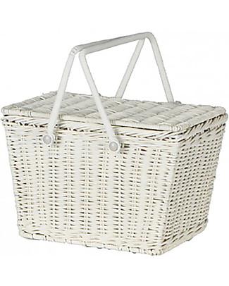 Olli Ella Piki Basket, White 23 x 15 x 15 cm - Fair trade, handmade! Toy Storage Boxes