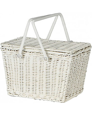 Olli Ella Piki Basket, White 31 x 15 x 15 cm - Fair trade, handmade! Toy Storage Boxes