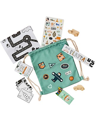 Olli Ella Play'n'Pack Drawstring Bag with Travel Toys, City Travel Games