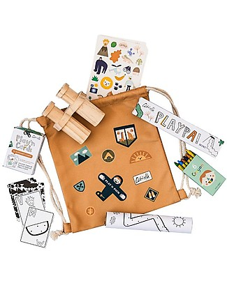 Olli Ella Play'n'Pack Drawstring Bag with Travel Toys, Jungle Small Backpacks