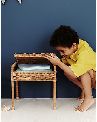 Olli Ella Rattan Storie Stool for Kids, Natural - with Hidden Storage Compartment! Chairs