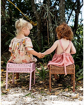 Olli Ella Rattan Storie Stool for Kids, Rose - with Hidden Storage Compartment! Chairs