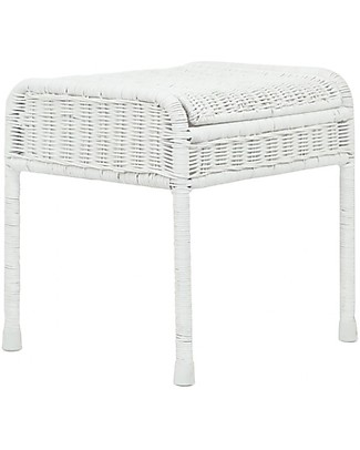 Olli Ella Rattan Storie Stool for Kids, White - with Hidden Storage Compartment! Chairs