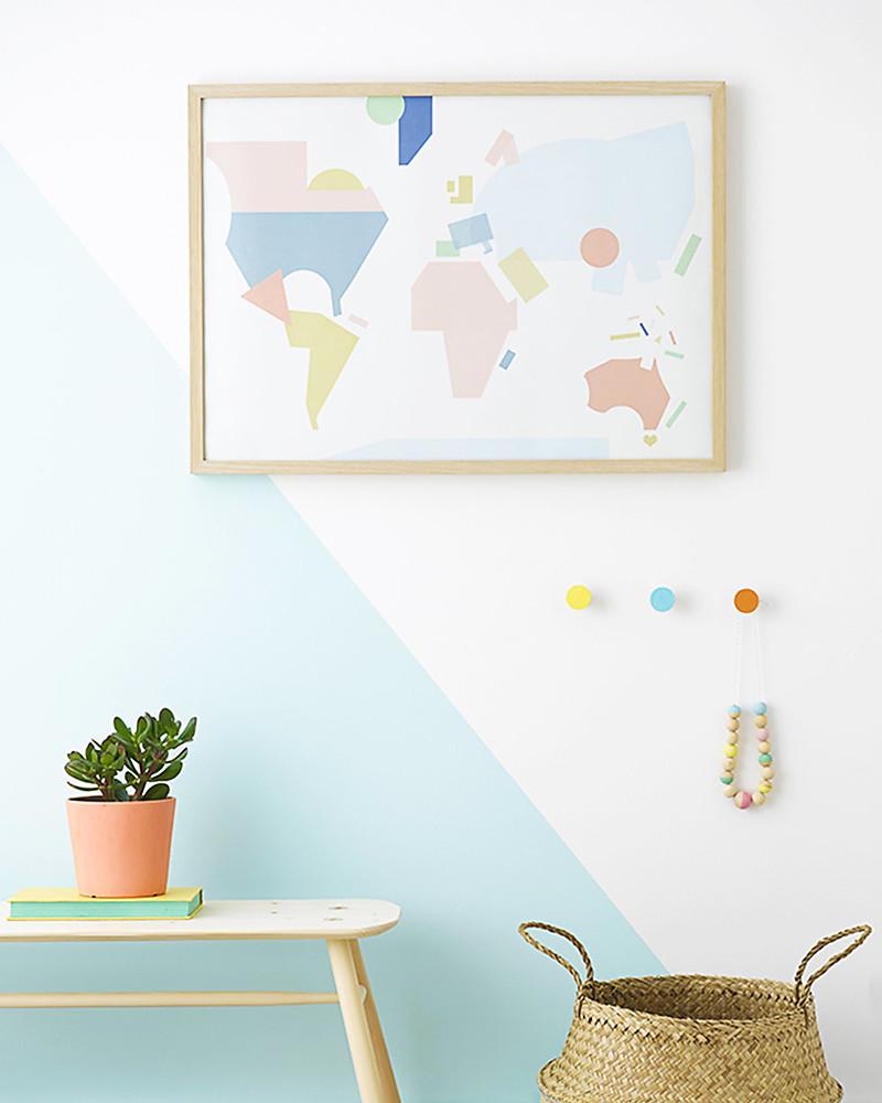 Olli Ella World Map Nursery Wall Art– 50 x 70 cm! unisex (bambini)