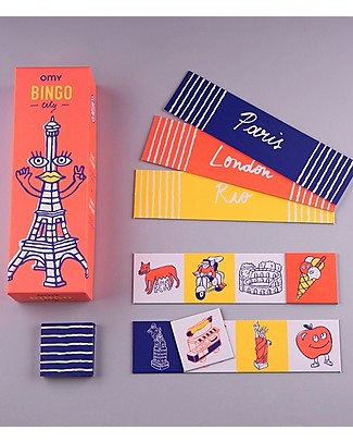 Omy Bingo Game - 12 Bingo Cards with Illustration of the World! Party Favours