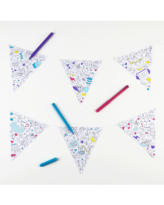 Omy Colour-in (3m long) Garland Bunting Set - printed on FSC paper! Bunting
