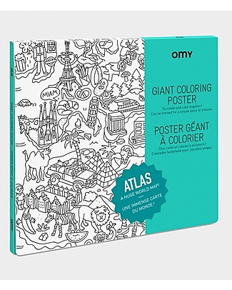 Omy Giant Atlas Colouring Page (100 x 70 cm) - Printed on Recycled Paper! Colouring Activities
