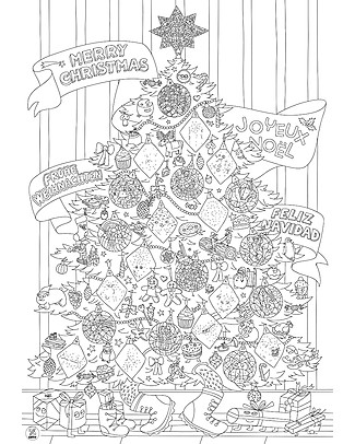 Omy Giant Christmas Poster to Colour In + Glow in the Dark Stickers! 70 x 100 cm - Printed on Recycled Paper! Colouring Activities
