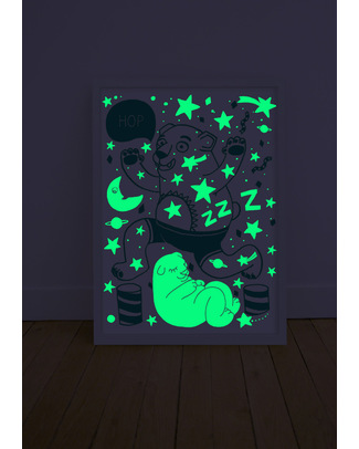 Omy Glow in the dark Grizzly Bear poster - light up the night! Posters