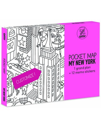 Omy Pocket Map New York - Double Sided - Printed on Recycled Paper! Colouring Activities