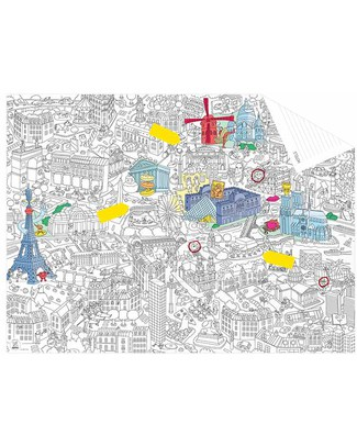 Omy Pocket Map Paris - Double Sided - Printed on Recycled Paper! Colouring Activities
