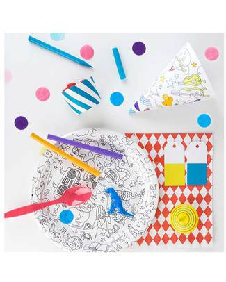 Omy Set of 8 colour-in party plates - printed on recycled paper! Colouring Activities