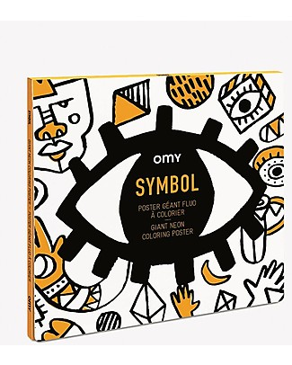 Omy Symbols Giant Colouring Poster (100 x 70 cm) - Pre-colored with Neon colours! Colouring Activities