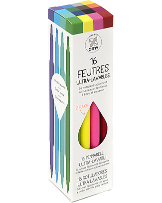 Omy Ultrawashable Felt Tip Pens - Set of 16 Colouring Activities
