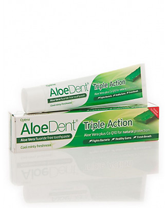 Optima Naturals AloeDent Tooth Gel Triple Action, 100 ml - Total Protection Toothpaste and Toothbrush