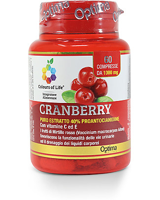 Optima Naturals Cranberry Vitamin C and E, 60 Tablets - Support the Urinary System Functionality Food Supplement
