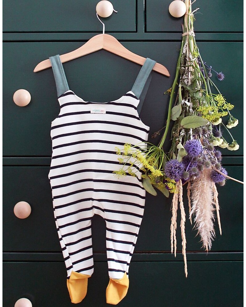 72ffc5be3 Organic Zoo Breton Stripy Salopette with Contrast Feet - Long Straps  Dungarees