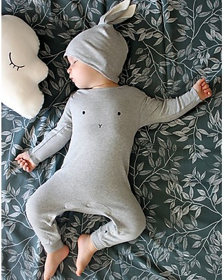 Organic Zoo Long Sleeved Bunny Playsuit, Grey - 100% Organic Cotton Rompers