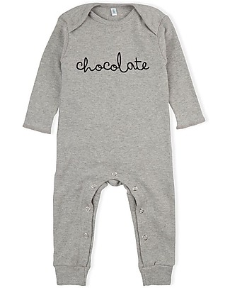 Organic Zoo Long Sleeved Chocolate Playsuit, Grey - 100% Organic Cotton Rompers