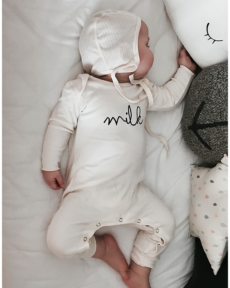 51f9c1039 Organic Zoo Long Sleeved Milk Playsuit, Natural - 100% organic cotton  Rompers