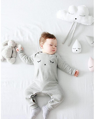 Organic Zoo Long Sleeved Sleepy Playsuit, Grey - 100% organic cotton Rompers