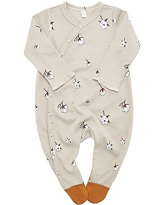 Organic Zoo Long Sleeved Suit with Contrast Feet, Flower - 100% organic cotton Babygrows
